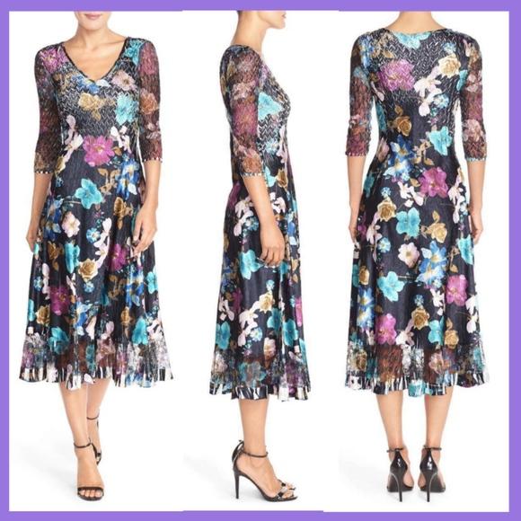 9f87f53a8d2 NWT Komarov Floral Print Chiffon A-Line Midi Dress